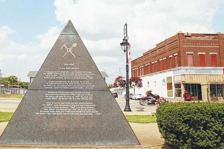 In downtown West Frankfort, a memorial is erected to commemorate the mining history in the town.