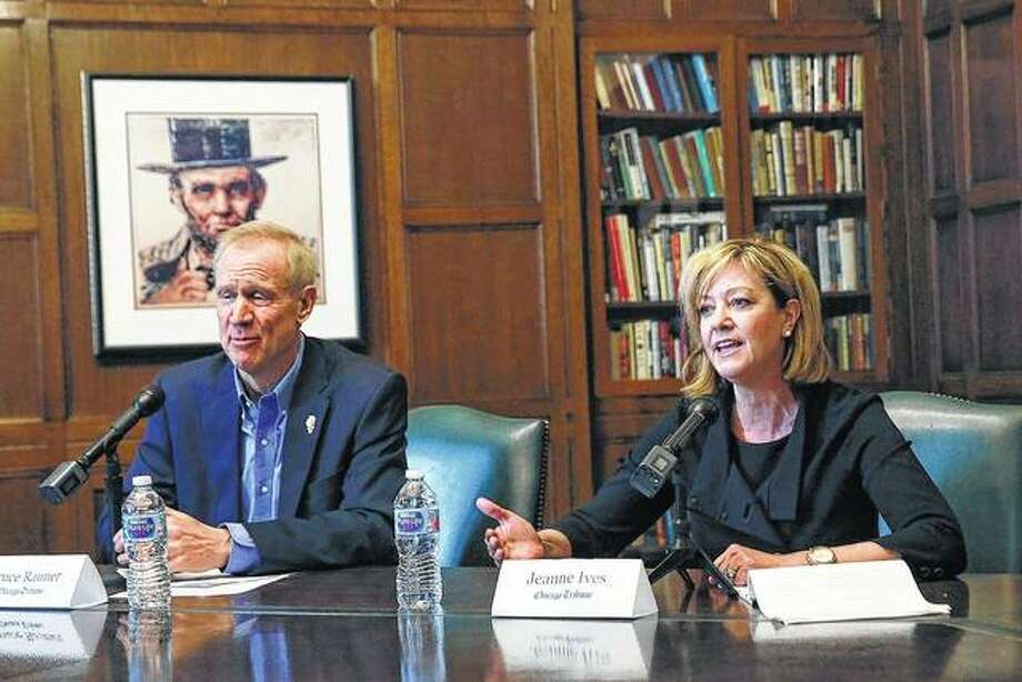 Gov. Bruce Rauner and primary challenger state Rep. Jeanne Ives meet in Chicago. Anyone who has driven across Illinois on crumbling highways, commuted on regularly delayed trains or sat for hours on congested expressways knows the state's transportation system is in desperate need of an upgrade. But the candidates for governor have different opinions on how to pay for it.