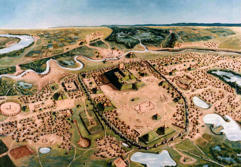 An artist's overhead view of the large and influential city that existed 1,000 years ago at what is now the Cahokia Mounds State Historic Site. Photo: Cahokia Mounds State Historic Site/William R. Iseminger