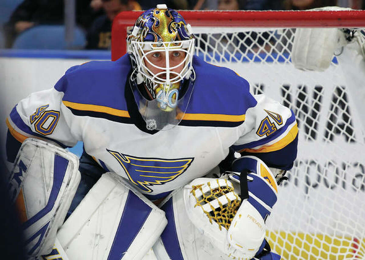 Blues goalie Carter Hutton looks on during the first period against the Sabres on Saturday night in Buffalo. Hutton earned the shutout in the Blues' 1-0 victory.
