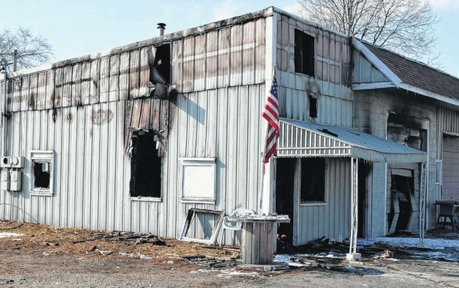 Graham's Paint Shop in Beardstown was heavily damaged by fire Wednesday. Photo: Nick Draper | Journal-Courier