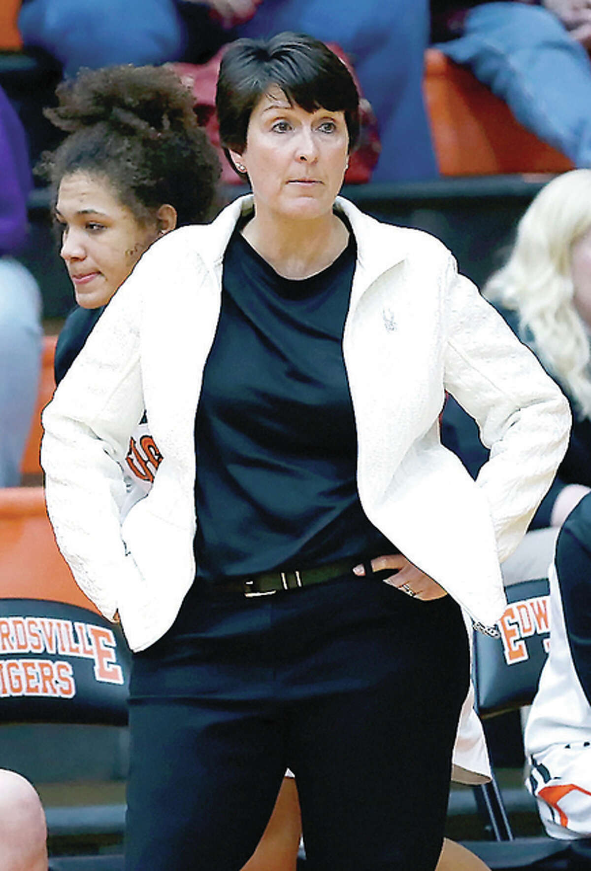 Edwardsville girls basketball coach Lori Blade's team defeated O'Fallon 67-34 Tuesday night at home and captured their ninth consecutive southwestern conference title in the process. The Tigers are 24-0.
