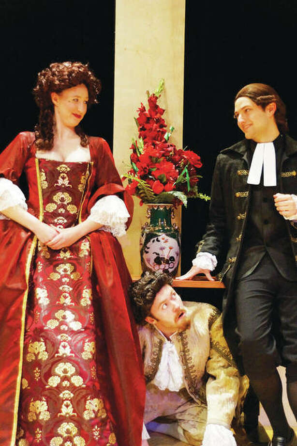 "Hannah Warntjes, left, Oliver Bacus, center, and Trey Ball will appear in Southern Illinois University Edwardsville's production of ""Tartuffe,"" Wednesday, Feb. 14, through Sunday, Feb. 18. Photo: Valerie Goldston