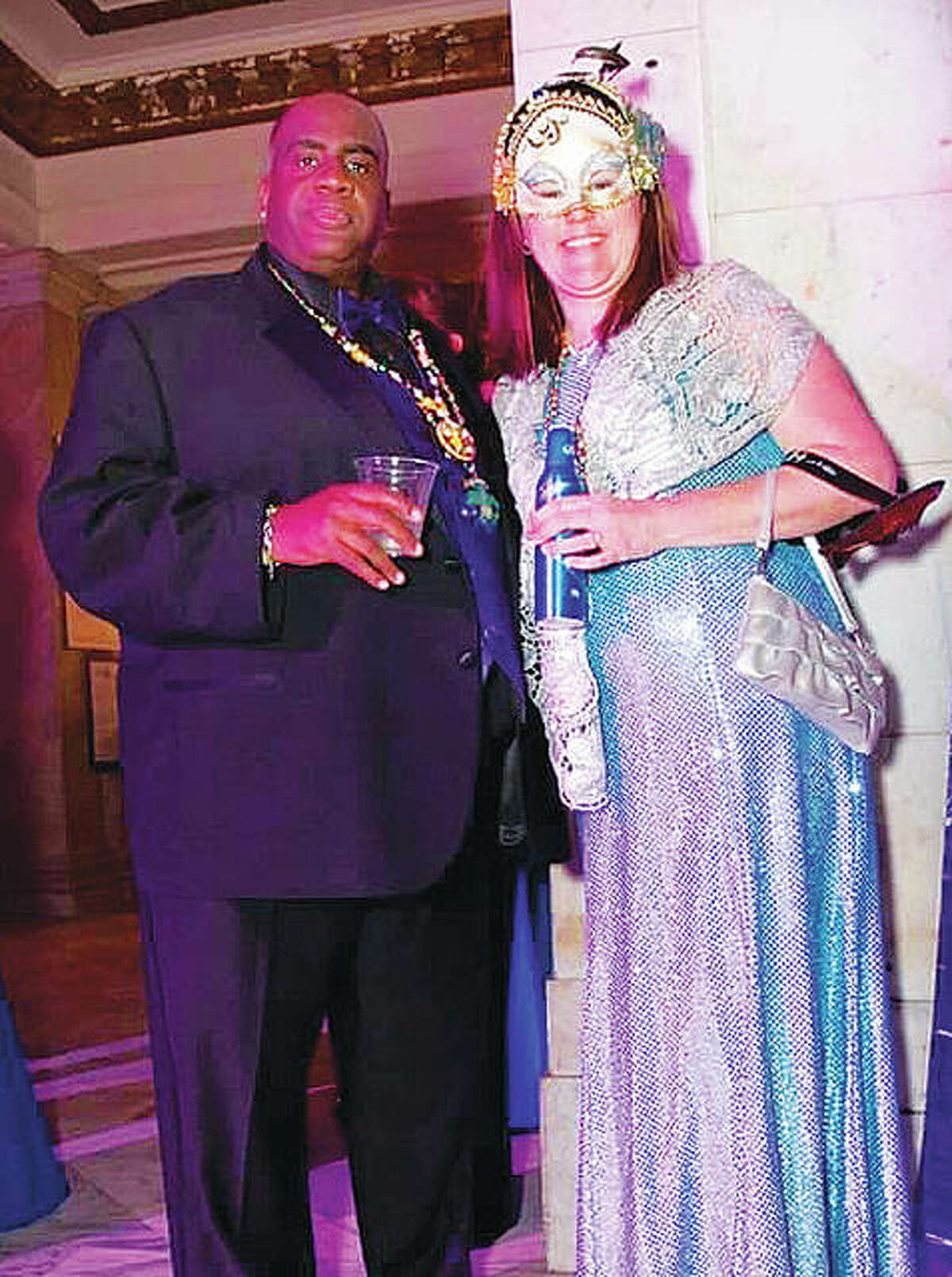 Alton's Ron Boles, left, originally from St. Louis, and his significant other and business partner, Jimi Jo Sinks, at the Mayor's Ball, two years ago. The gala combines the elegance of the setting with the striking visuals of Mardi Gras. It features fine cuisine, cocktails, dancing and entertainment ranging from traditional to spectacular. This charitable event is hosted by the Mardi Gras Foundation, and the proceeds go to create community grants that have shown demonstrable benefits to the Soulard and Downtown St. Louis communities since 2003. This year's Mayor's Ball takes place from 7 p.m to 12 a.m. Friday, at the Rotunda in St. Louis City Hall. Ticket costs start at $150. Visit www.stlmardigras.org for tickets and more information.