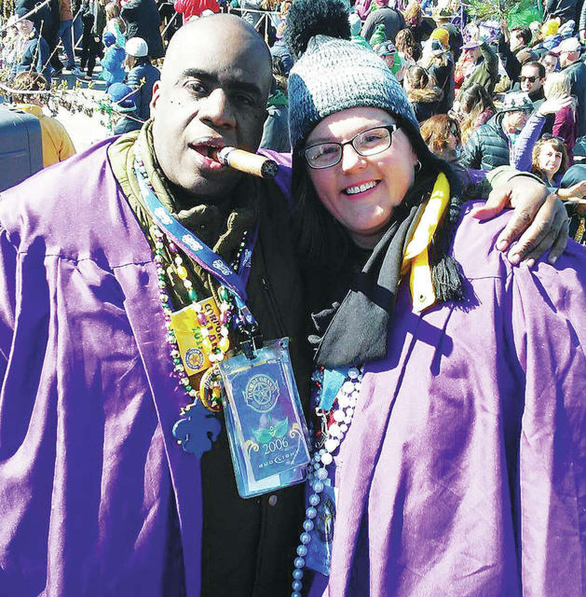 Alton's Ron Boles, left, originally from St. Louis, and his significant other and business partner, Jimi Jo Sinks, in 2006, wearing the purple robes of Soulard Mardi Gras' Bud Light Grand Parade judges. Boles has been a judge for the parade for at least the last consecutive 16 years. This year, he again will judge more than 100 parade floats Saturday at purportedly the second biggest Mardi Gras celebration in the world in St. Louis' Soulard neighborhood. Sinks has often joined Boles as a Grand Parade official judge over the last 10 years. Judging takes up to four hours to complete.