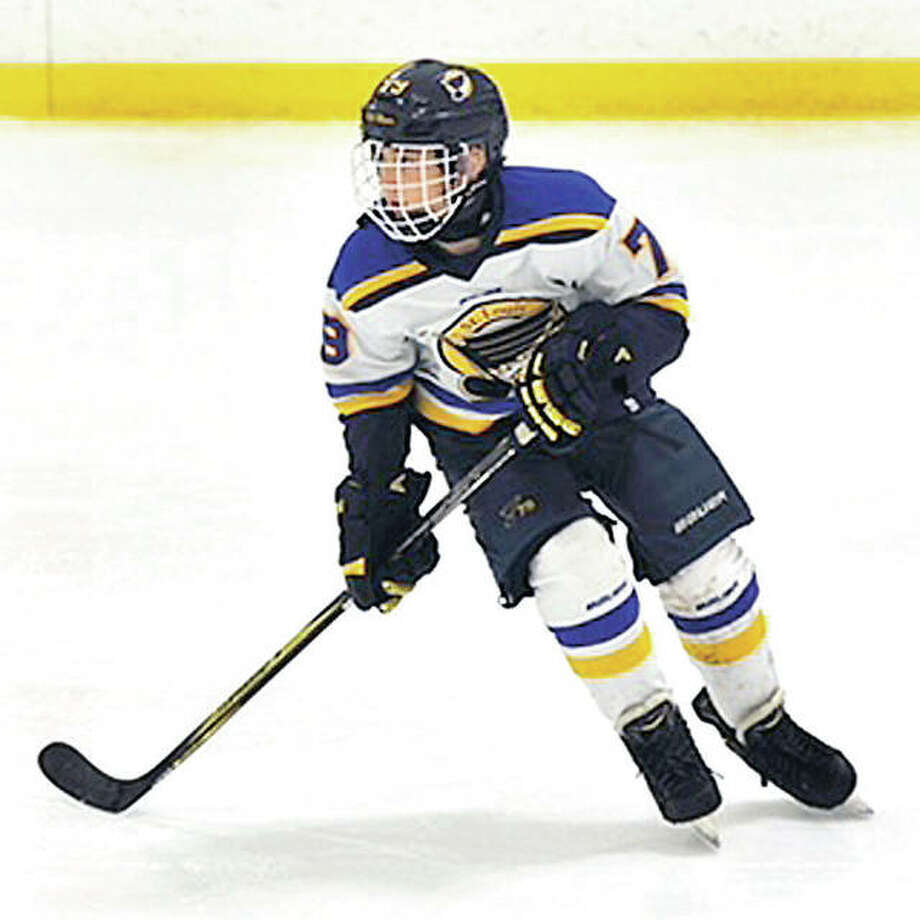 Alton Middle School student Aiden Elliott, 13, is a member of the AAA Junior Blues and is in Quebec preparing for a week-long tournament that gets underway Monday. Photo: Submitted Photo