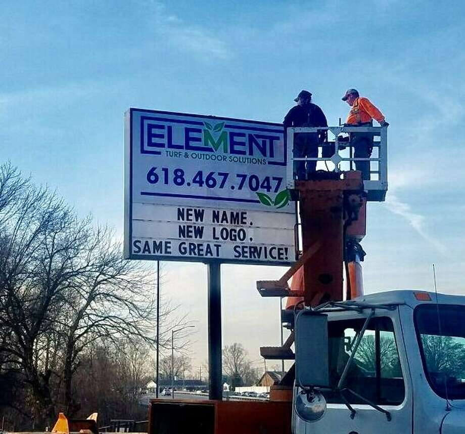 Element Turf & Outdoor Solutions' sign went up recently at 26 E. Delmar Ave. in Alton. Business hours are 8 a.m. to 4:30 p.m. Monday through Friday. A person will answer telephone calls 24 hours a day, seven days a week, when calling after hours. Photo: For The Telegraph