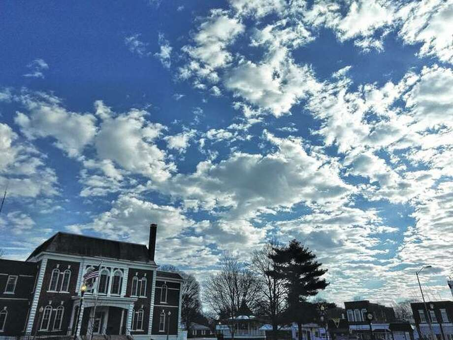 A sea of blue and white fills the sky over the square in Virginia. Photo: Nicole Gleason | Reader Photo