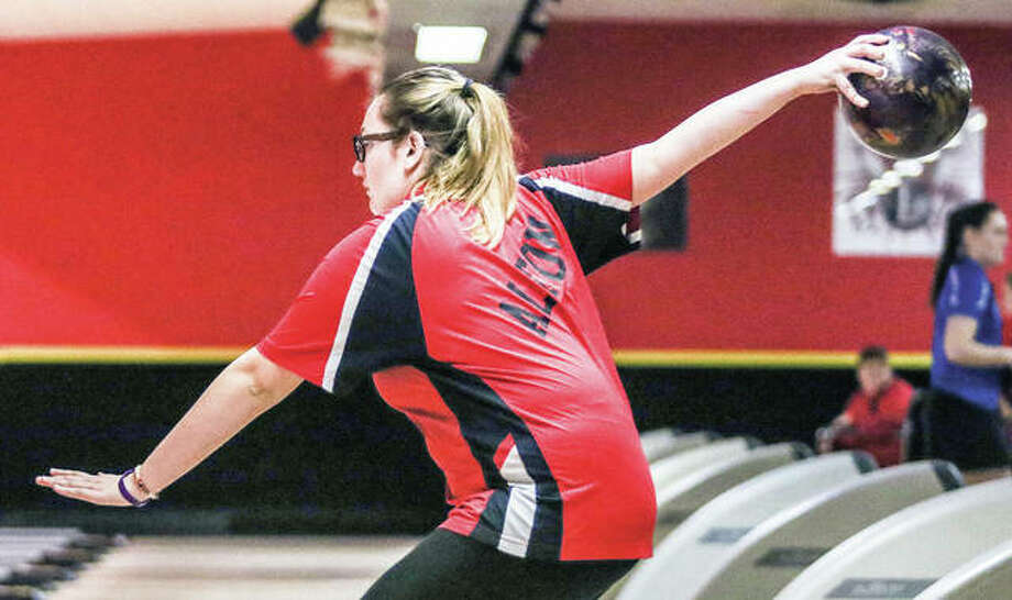 Alton's Cassie Bowman led her team at Saturday's IHSA Girl Sectional Bowling Tournament at NuBowl Lanes in Mt. Vernon. Bowman bowled a 1,169 series for six games, but the Redbirds fell short of advancing as a team to next weekend's state tournament in Rockford. Also, no Telegraph-area bowlers qualified as individuals for the state tourney. Bowlman is pictured in action at last weekend's Alton Regional Tourney at Bowl Haven. Photo: Nathan Woodside   For The Telegraph