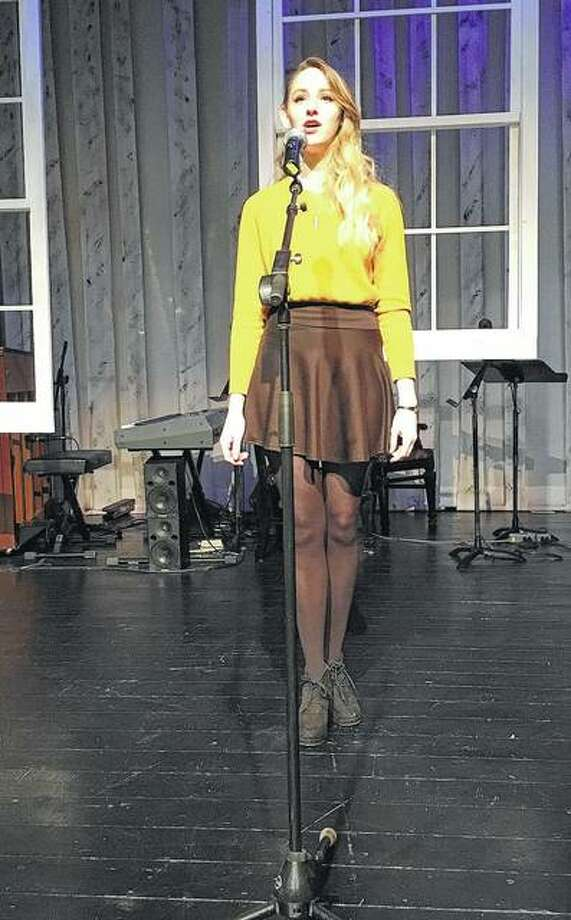 Franklin senior Carolyn Wood performs during the Poetry Out Loud Central Illinois Regional Contest Wednesday. Photo: Photos Provided