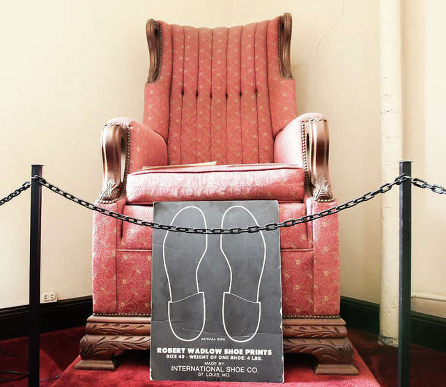 "A chair that once belonged to Robert Wadlow remains on display at the Franklin Lodge on Washington Street in Alton. The lodge has a designated ""Wadlow Room"" displaying artifacts from Wadlow's life and membership at the lodge. Photo: Nathan Woodside 