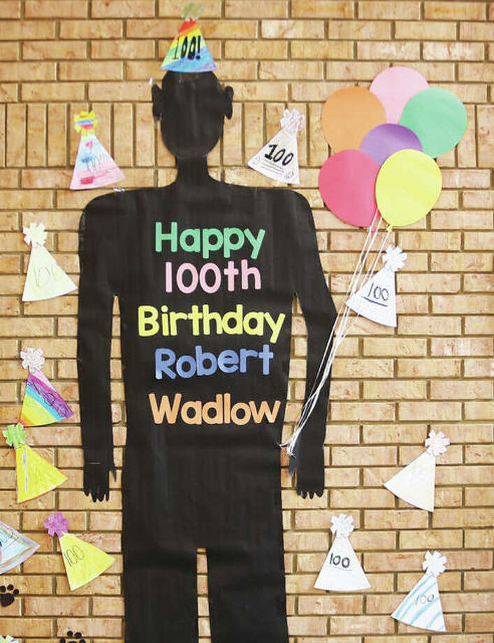 One of the hallway displays at Evangelical School in Godfrey where students have been drawing, writing and learning about the worlds tallest man, Robert Wadlow, on his 100th birthday Thursday. Robert Wadlow died in 1940 at the age of 22 and was 8 feet, 11.1 inches tall. Photo: John Badman | The Telegraph