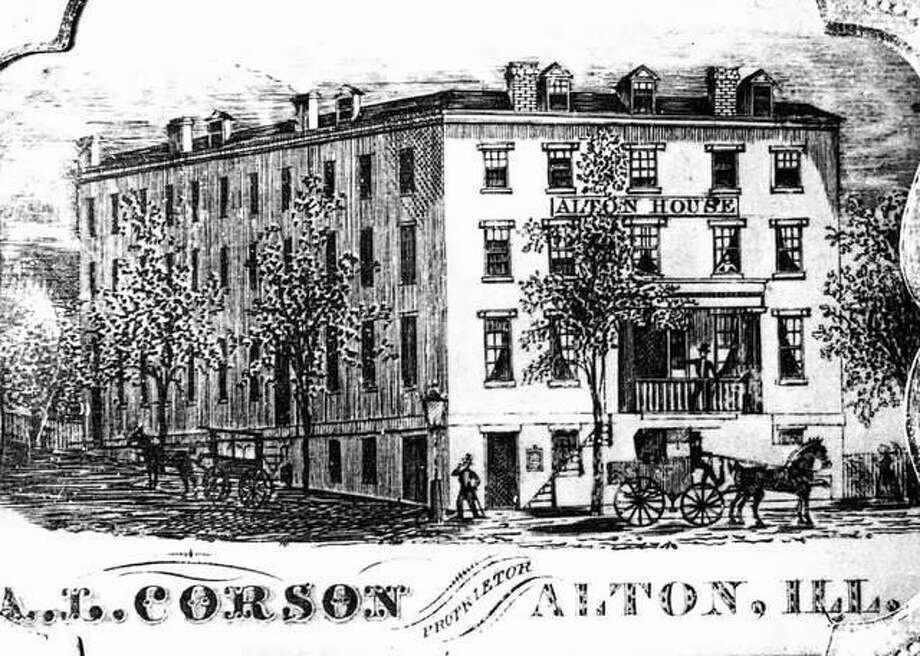 According to Brinks 1873 History of Madison County, the best-known hotel in Alton was the Alton House. Jonathan Hudson erected a large frame building at the corner of Front and Alby streets in 1832. It was destroyed by fire in 1837, and was replaced by a three-story brick building by Calvin Stone. Amos L. Corson was proprietor until 1866. The hotel burned in 1870. The Piasa House was at one time a prominent hotel. Built by Judge Hezekiah Hawley prior to 1834, it was located at Fourth and Piasa close to the railroad terminal. Other hotels in early days were the Empire, the Union and Myrtle House. Miss Lottie Coleman built the Myrtle House on Front Street in 1893, using her own savings. She ran a boarding house and restaurant until 1835. This print was taken from a daguerreotype found in Detroit, Michigan. Photo: File Photo