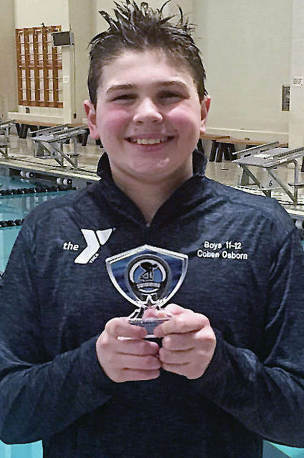 Cohen Osborn of the Edwardsville YMCA Breakers swept all his individual events at the recent USA Swimming Ozark Division I Championships at the St. Peters Rec-Plex and captured the high-point trophy for his age group. Photo: Submitted Photo