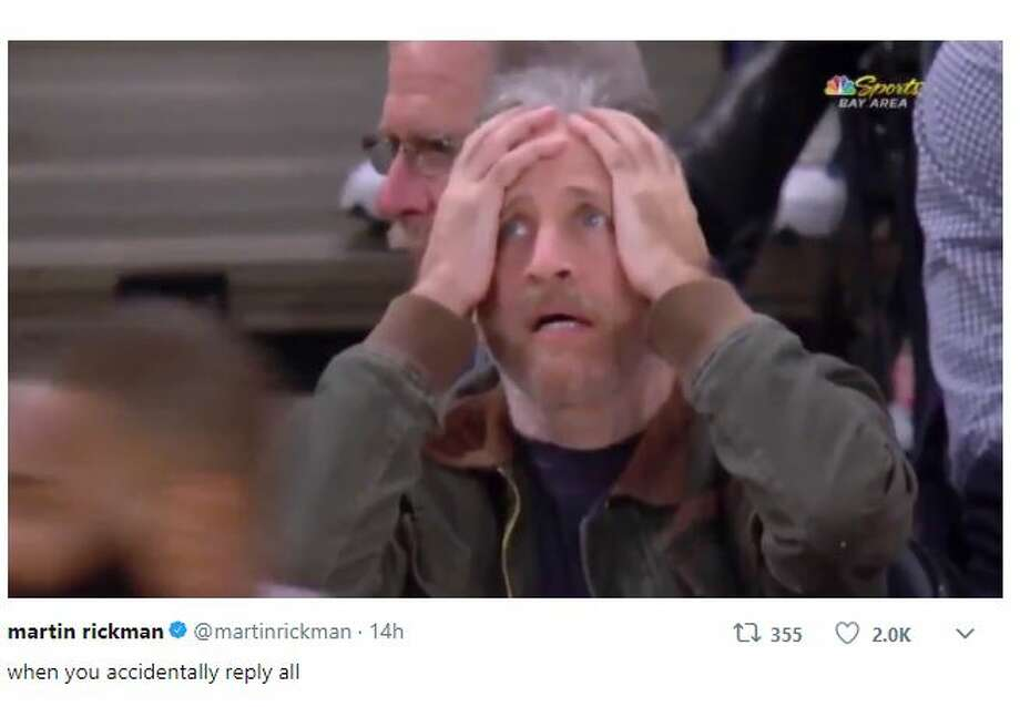 Twitter took notice of Jon Stewart's reaction to an unexpected JaVale McGee jumper. Photo: Martin Rickman