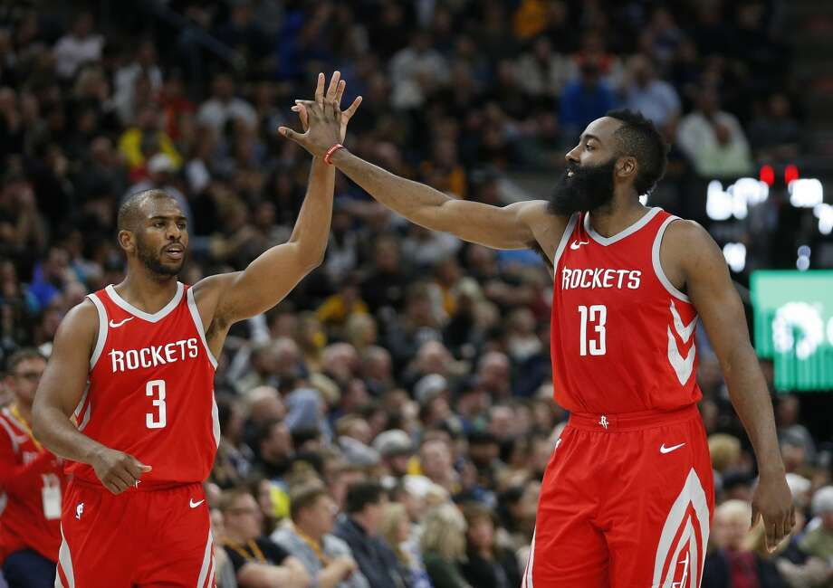 Houston Rockets' Chris Paul (3) and James Harden (13) celebrate in the second half during an NBA basketball game against the Utah Jazz Monday, Feb. 26, 2018, in Salt Lake City. (AP Photo/Rick Bowmer) Photo: Rick Bowmer/Associated Press
