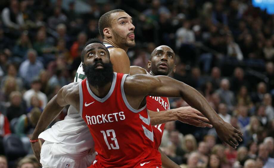 Rudy Gobert is among the players who'd make a playoff series against Utah a rugged ride for the Rockets. Photo: Rick Bowmer/Associated Press