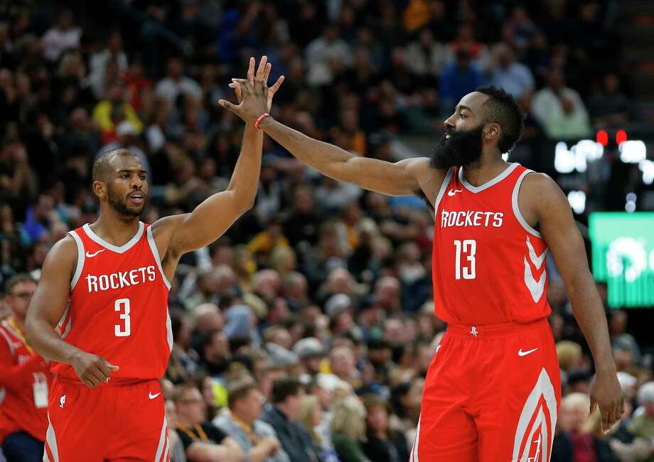 Houston Rockets' Chris Paul (3) and James Harden (13) celebrate in the second half during an NBA basketball game against the Utah Jazz Monday, Feb. 26, 2018, in Salt Lake City. (AP Photo/Rick Bowmer) Photo: Rick Bowmer, Associated Press / Copyright 2018 The Associated Press. All rights reserved.