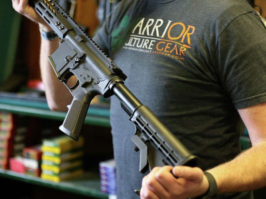 A semi-automatic AR-15 is shown here on February 15, 2018 in Orem, Utah. An AR-15 was used in the Marjory Stoneman Douglas High School shooting, which renewed debate over arming teachers in schools. Photo: George Frey, Getty Images / 2018 Getty Images