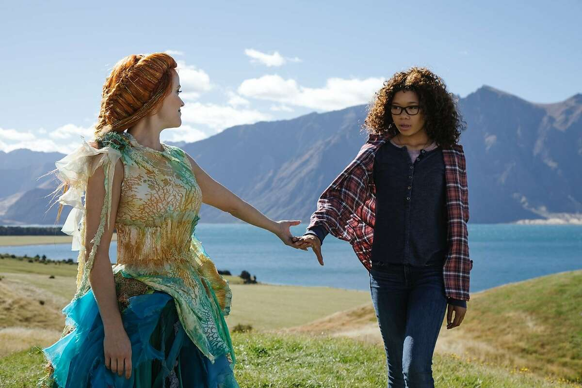 """L-R: Reese Witherspoon as Mrs. Whatsit and Storm Reid as Meg Murry in Ava DuVernay's adaptation of Madeleine L'Engle's novel """"A Wrinkle in Time."""""""