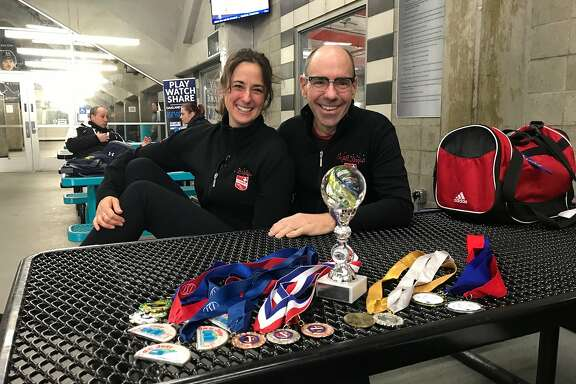 Competitive adult figure skaters Libby Palomeque and Scott Davis.