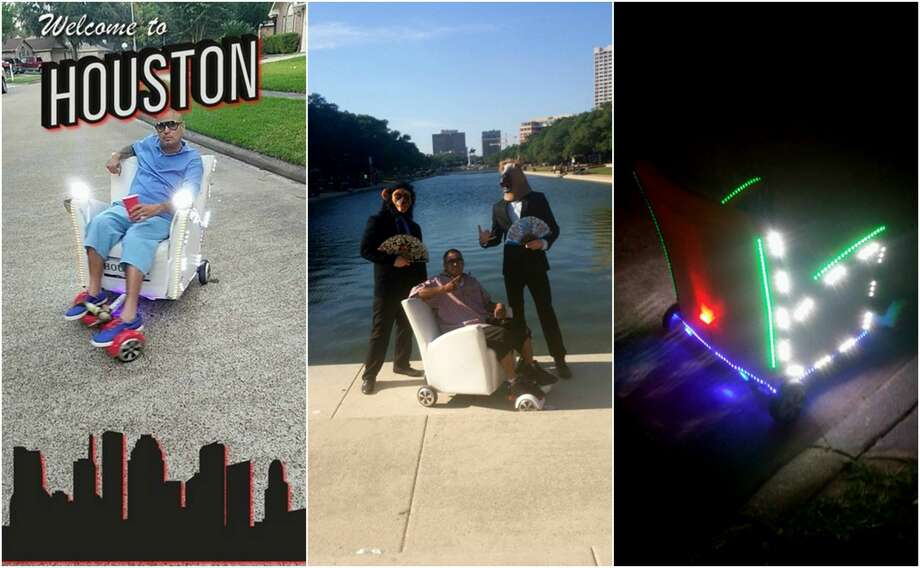 Houston man Diego Torres got a lot of people on social media talking after he was seen speeding around downtown in Astros-decorated chair powered by a hoverboard. Photo: Diego Torres