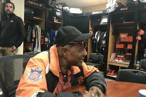 Willie Mays in the Giants Scottsdale clubhouse