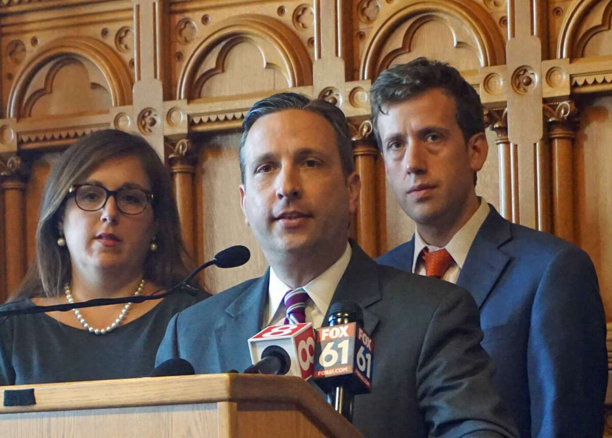 Senate Majority Leader Bob Duff D-Norwalk joined with Democratic House and Senate leaders to call for Connecticut to join the National Popular Vote Interstate Compact at the Capitol in Hartford on Tuesday.