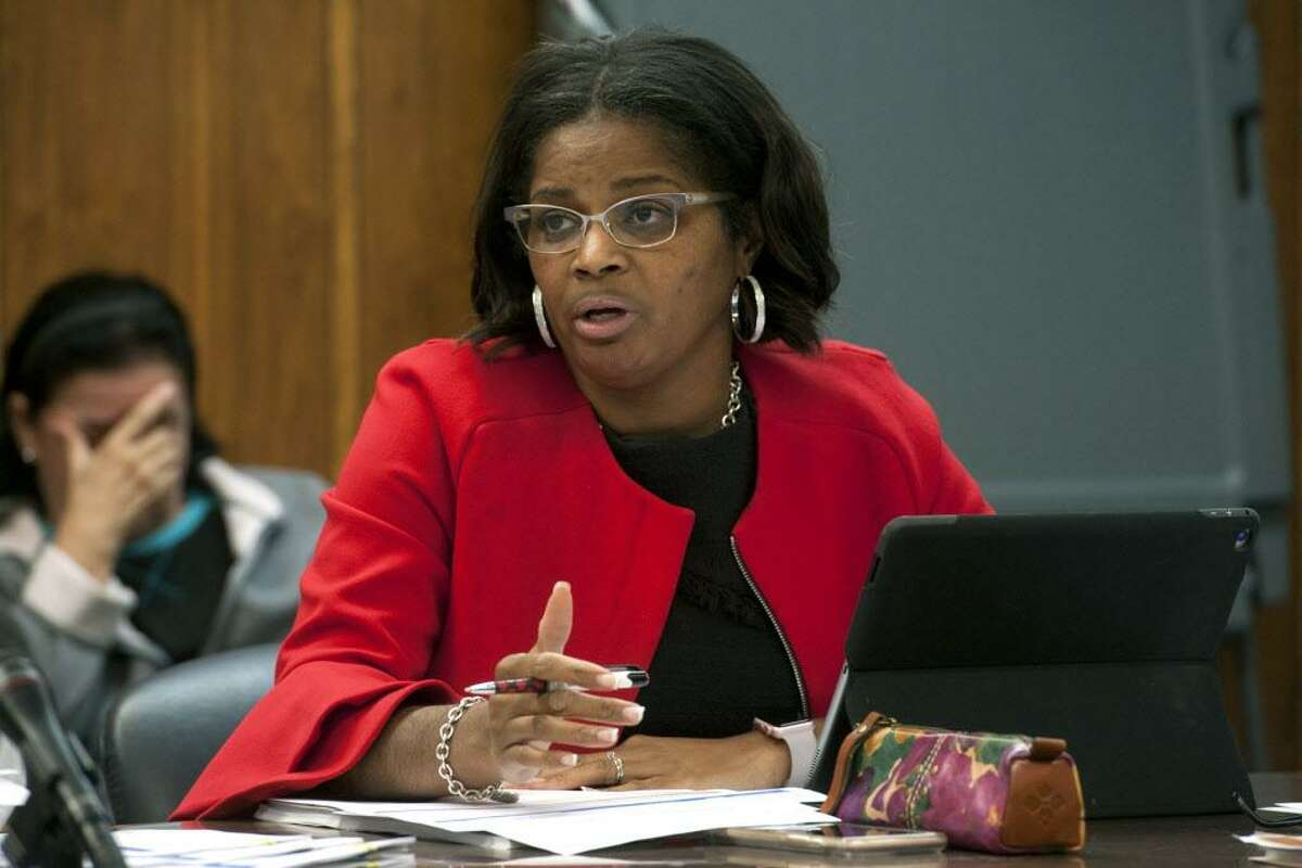 Superintendent of School Aresta Johnson speaks at a Finance Committee meeting for Bridgeport Public Schools in Bridgeport Conn. Nov. 2, 2017. The meeting was held to address a budget shortfall left by the recently passed state budget.
