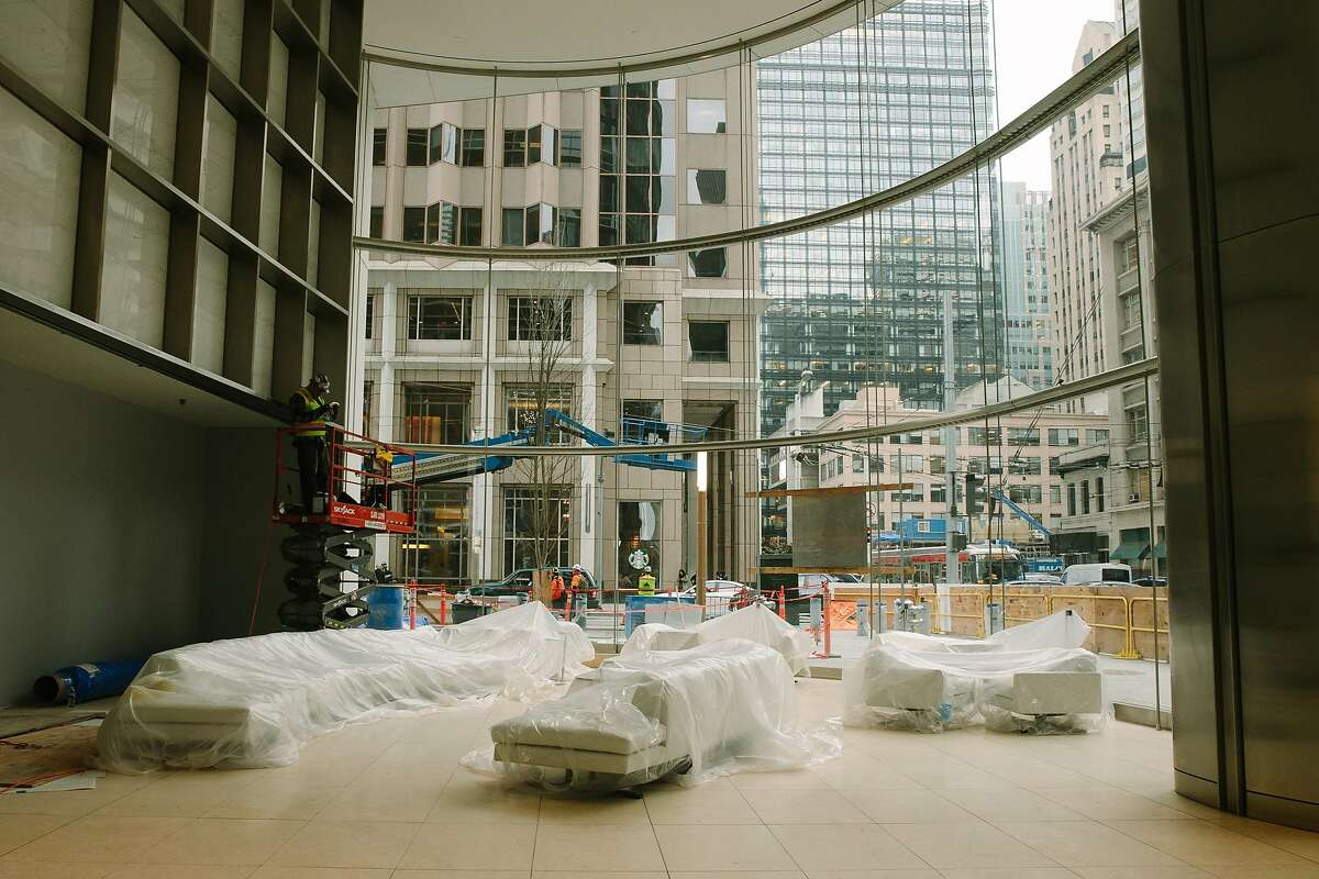 New furniture is covered in the lobby of Salesforce Tower in San Francisco, Calif. Thursday, January 4, 2018.