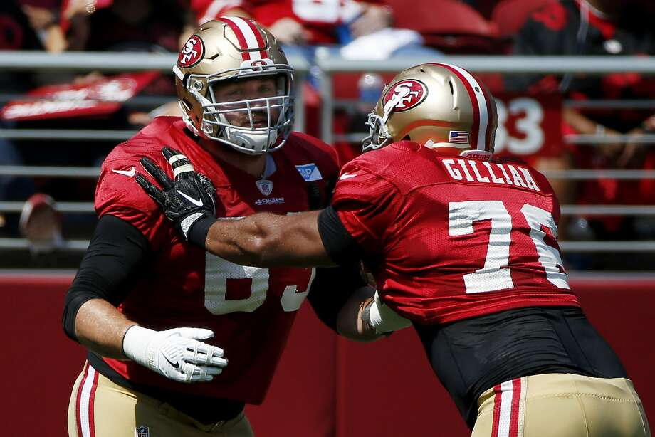 San Francisco 49ers center Brandon Fusco (63) trains with offensive tackle Garry Gilliam (76) during football practice at Levi's Stadium on Saturday, Aug. 5, 2017, in Santa Clara, Calif. Photo: Santiago Mejia, The Chronicle