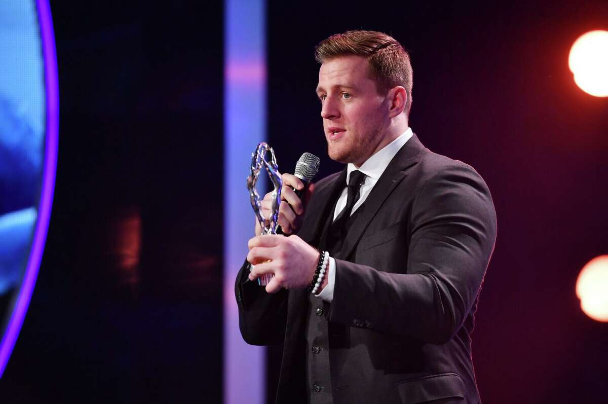 MONACO - FEBRUARY 27: JJ Watt with his Laureus Sporting Inspiration award during the 2018 Laureus World Sports Awards show at Salle des Etoiles, Sporting Monte-Carlo on February 27, 2018 in Monaco, Monaco. (Photo by Alexander Koerner/Getty Images for Laureus)