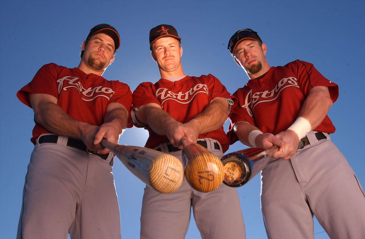 Lance Berkman, Jeff Kent and Jeff Bagwell during the Houston Astros' spring training, at the Osceola County Stadium Complex, in Kissimmee, Florida in 2003.