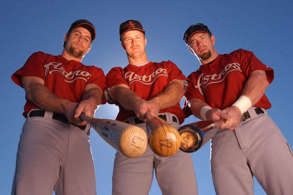 (2/24/03)  Lance Berkman, Jeff Kent and Jeff Bagwell, Monday  morning, during the Houston Astros' spring training, at the Osceola County Stadium Complex, in Kissimmee, Florida. (Karen Warren/Houston Chronicle)