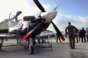 A T-6A Texan II sits on the tarmac at Randolph Air Force Base in 2000.