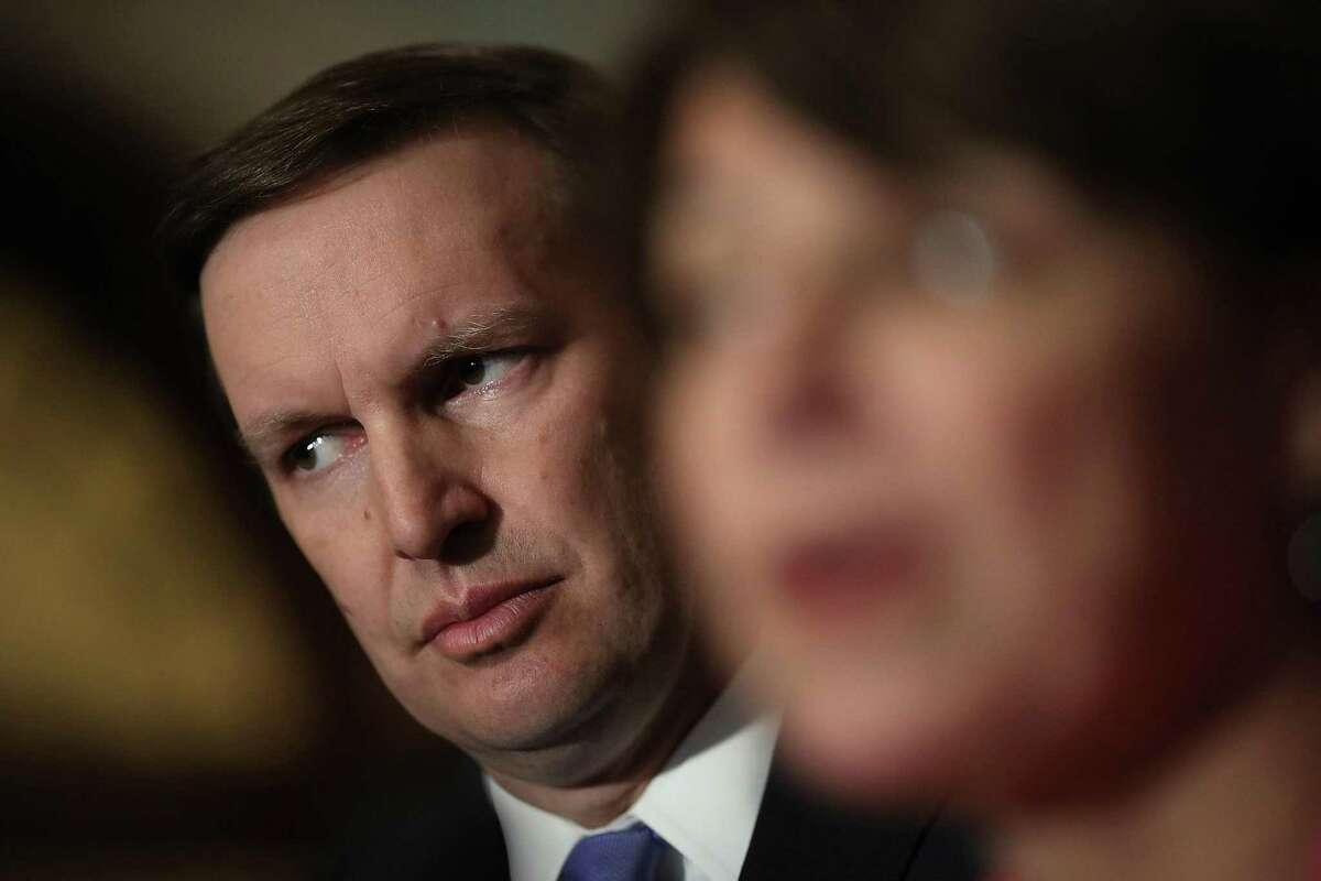 Sen. Chris Murphy (L) (D-CT) listens as Sen. Amy Klobuchar (R) (D-MN) speaks during a press conference at the U.S. Capitol February 27, 2018 in Washington, DC. Senate Majority Leader Chuck Schumer answered a range of questions related primarily to planned gun reform legislation by the U.S. Congress.