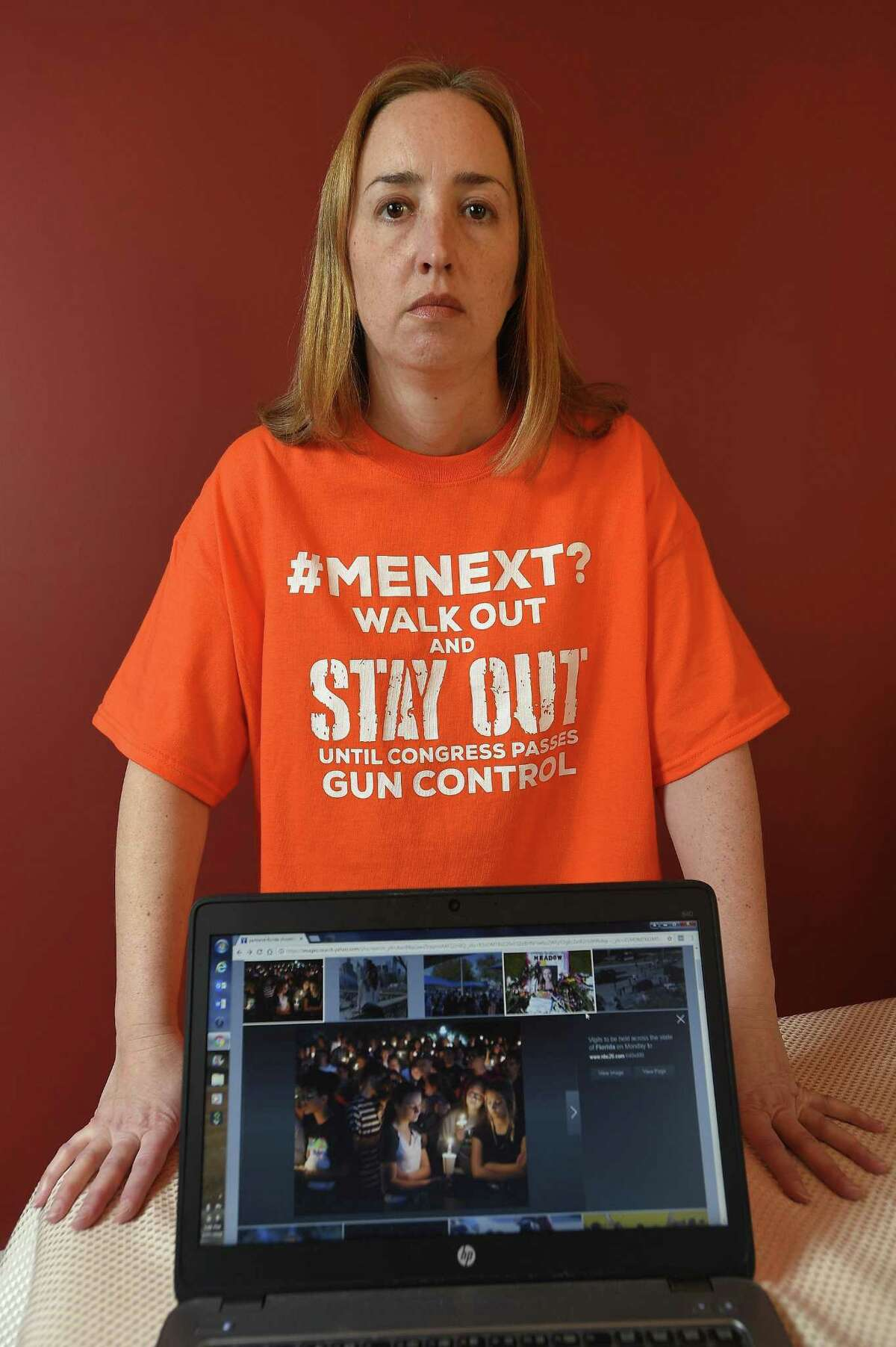 Jennifer Ladd teaches history at Darien High School and will walk out of her job on the Day of Action, April 20, 2018, if the U.S. Congress has not passed an assault weapon ban by then.Ms. Ladd is photographed on Tuesday, Feb. 27, 2018 in Stamford, Connecticut.