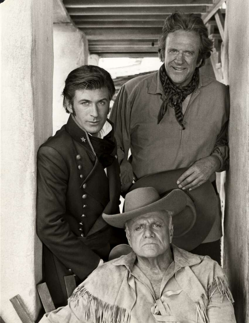 (Clockwise from top right): James Arness as Jim Bowie, Brian Keith as Davy Crockett and Alec Baldwin as Col. William Travis in