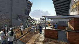 A new open air bar and lounge is featured on the new party deck that the Oakland A's hope will entice fans to the Coliseum this season.