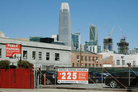 San Francisco's Skyline seen from the A public Parking lot in the South of Market neighborhood in San Francisco, Calif., Tuesday, Feb. 27, 2018.