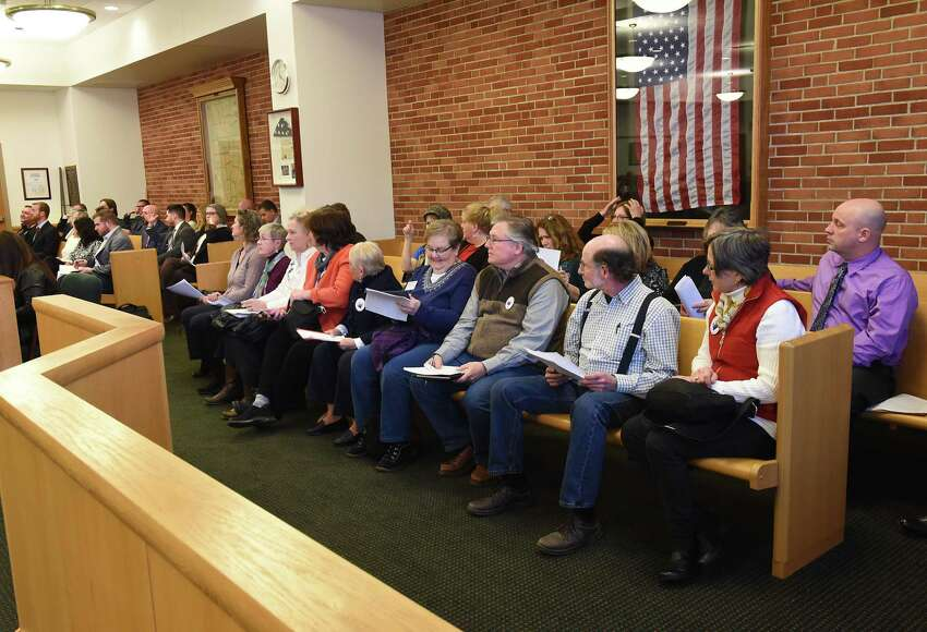League of Women voters and others attend a Saratoga County Board of Supervisors meeting on Tuesday, Feb. 27, 2018 in Ballston Spa, N.Y. (Lori Van Buren/Times Union)