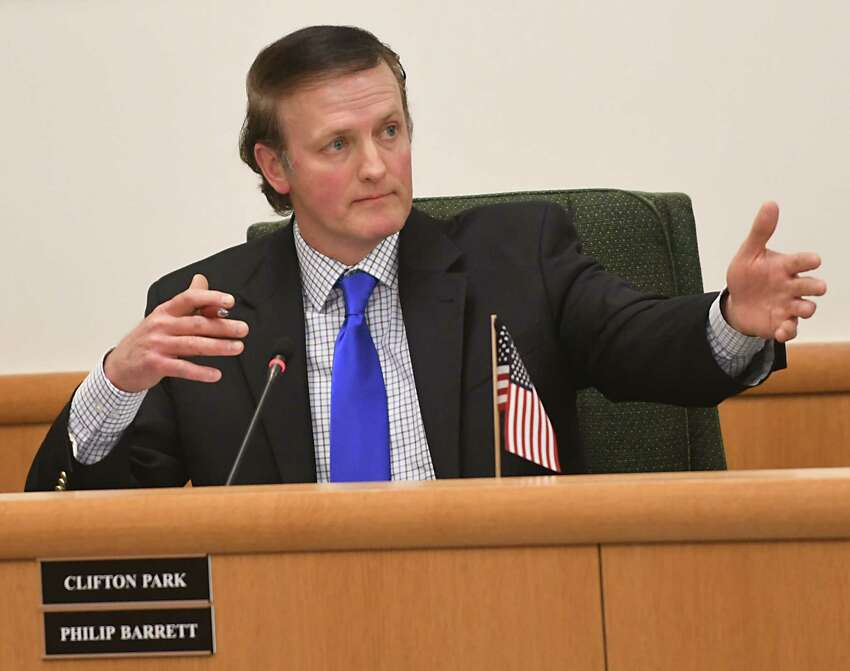 Clifton Park Town Supervisor PhilipBarrett speaks against an early voting proposal at a Saratoga County Board of Supervisors meeting on Tuesday, Feb. 27, 2018 in Ballston Spa, N.Y. (Lori Van Buren/Times Union)