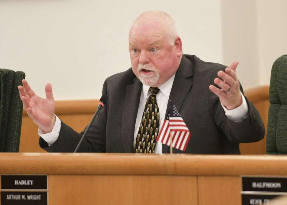 Hadley Town Supervisor Arthur Wright speaks against an early voting proposal at a Saratoga County Board of Supervisors meeting on Tuesday, Feb. 27, 2018 in Ballston Spa, N.Y. (Lori Van Buren/Times Union)