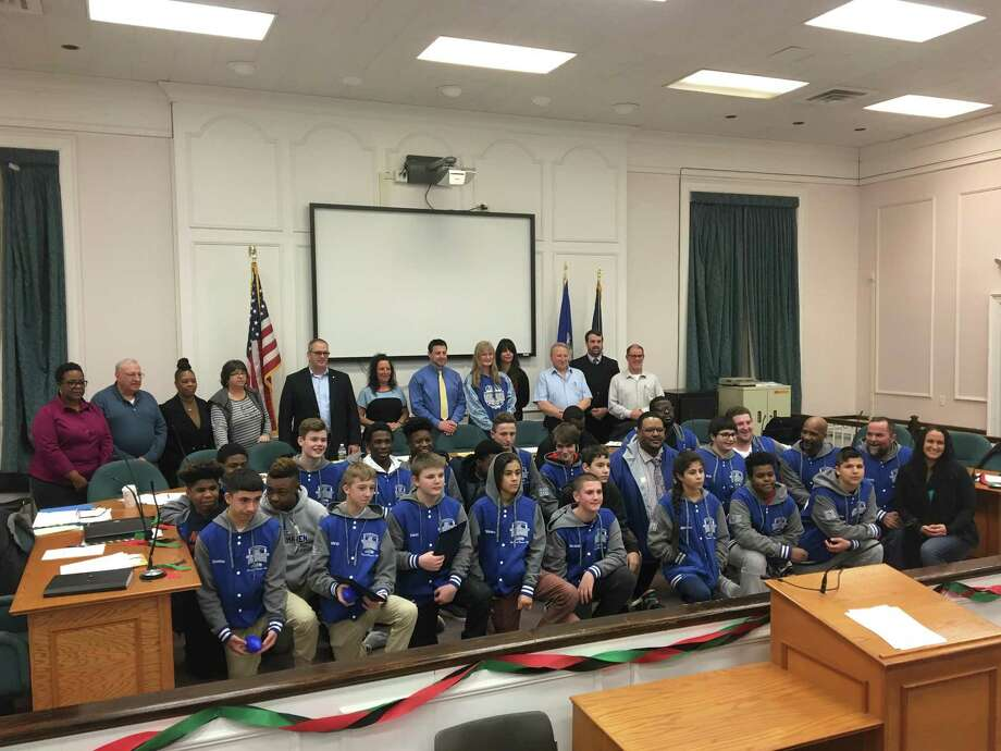 The West Haven City Council honored the West Haven Seahawks Junior Varsity youth football team Monday night. Photo: Mark Zaretsky / Hearts Connecticut Media