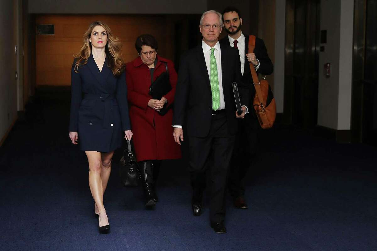 White House Communications Director and presidential advisor Hope Hicks (L) arrives at the U.S. Capitol Visitors Center February 27, 2018 in Washington, DC. Hicks is scheduled to testify behind closed doors to the House Intelligence Committee in its ongoing investigation into Russia's interference in the 2016 election.
