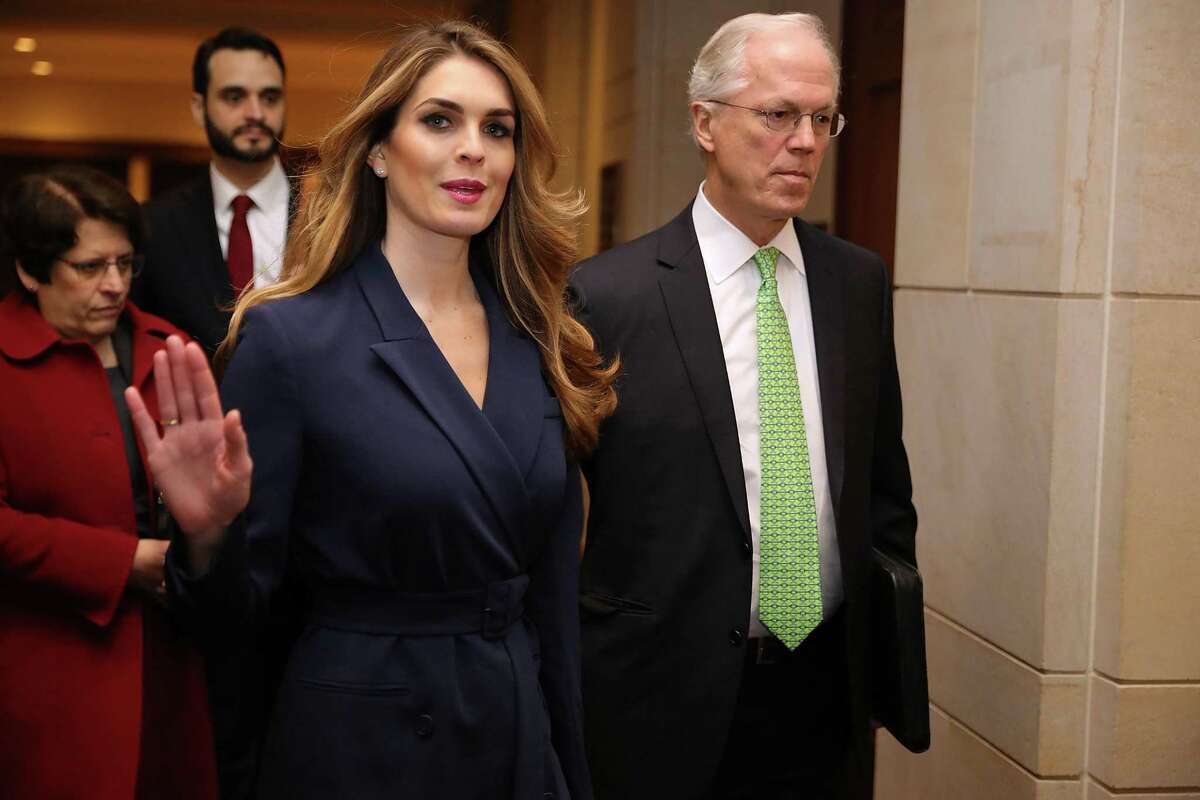 White House Communications Director and presidential advisor Hope Hicks waves to reporters as she arrives at the U.S. Capitol Visitors Center February 27, 2018 in Washington, DC. Hicks is scheduled to testify behind closed doors to the House Intelligence Committee in its ongoing investigation into Russia's interference in the 2016 election.
