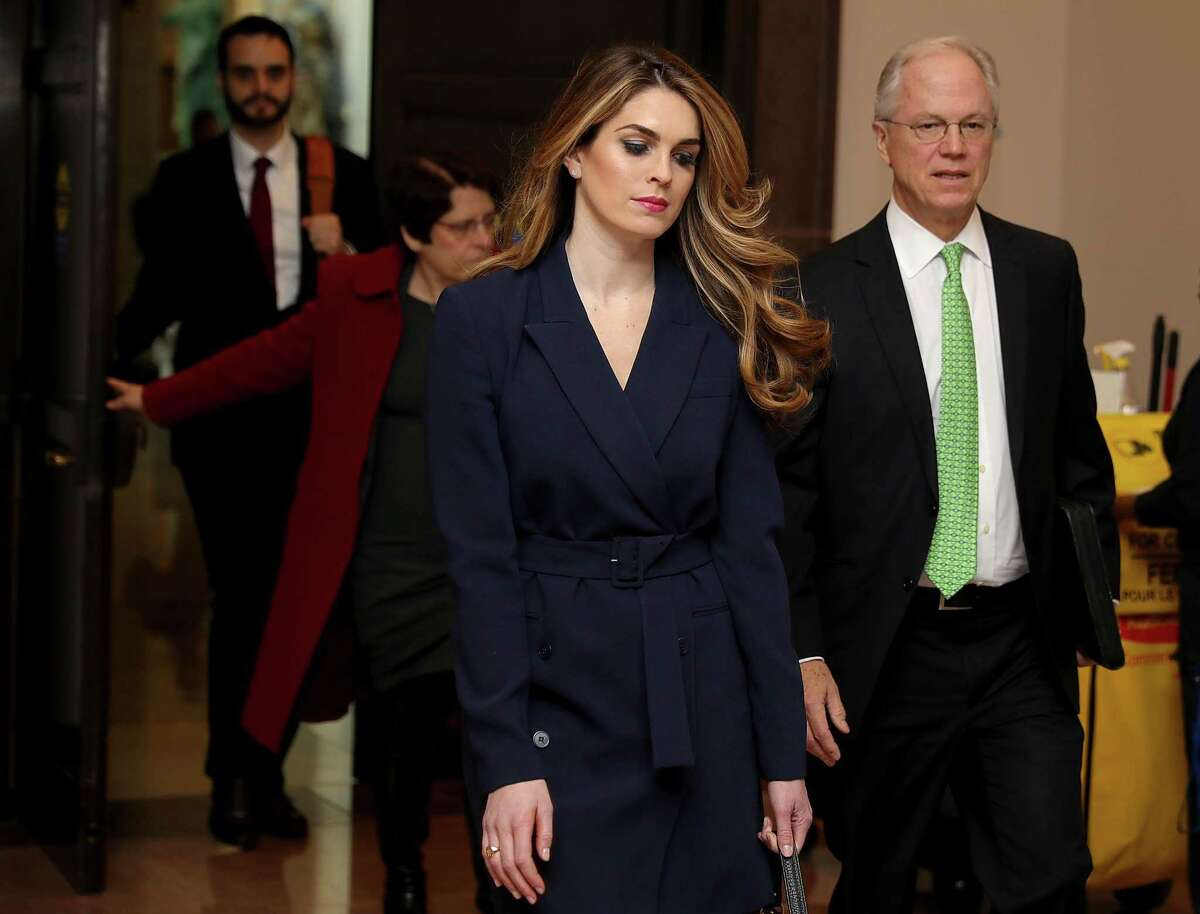 White House Communications Director and presidential advisor Hope Hicks (C) arrives at the U.S. Capitol Visitors Center February 27, 2018 in Washington, DC. Hicks is scheduled to testify behind closed doors to the House Intelligence Committee in its ongoing investigation into Russia's interference in the 2016 election.