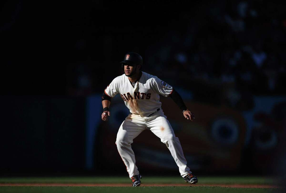 Gregor Blanco #7 of the San Francisco Giants leads off of second base against the Arizona Diamondbacks in the bottom of the fourth inning at AT&T Park on July 10, 2016 in San Francisco, California.
