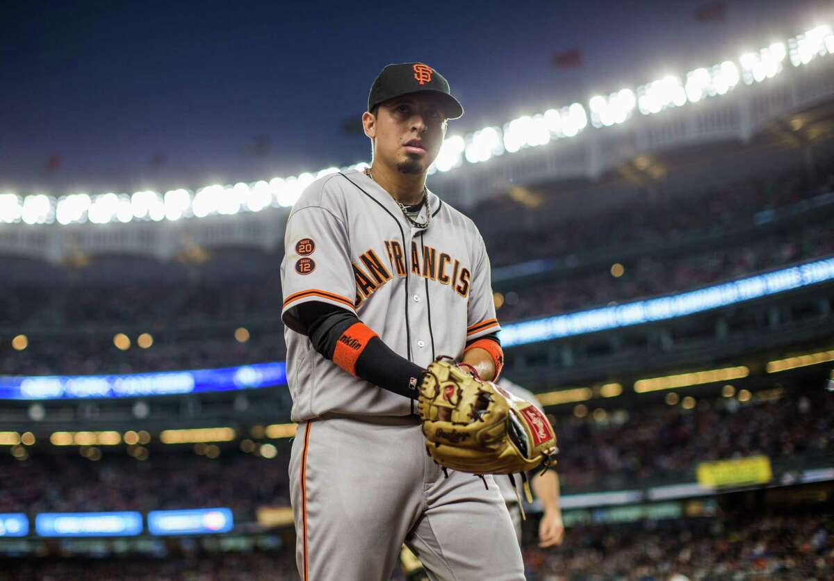 Gregor Blanco #7 of the San Francisco Giants looks on during the game against the New York Yankees at Yankee Stadium on July 22, 2016 in the Bronx borough of New York City.