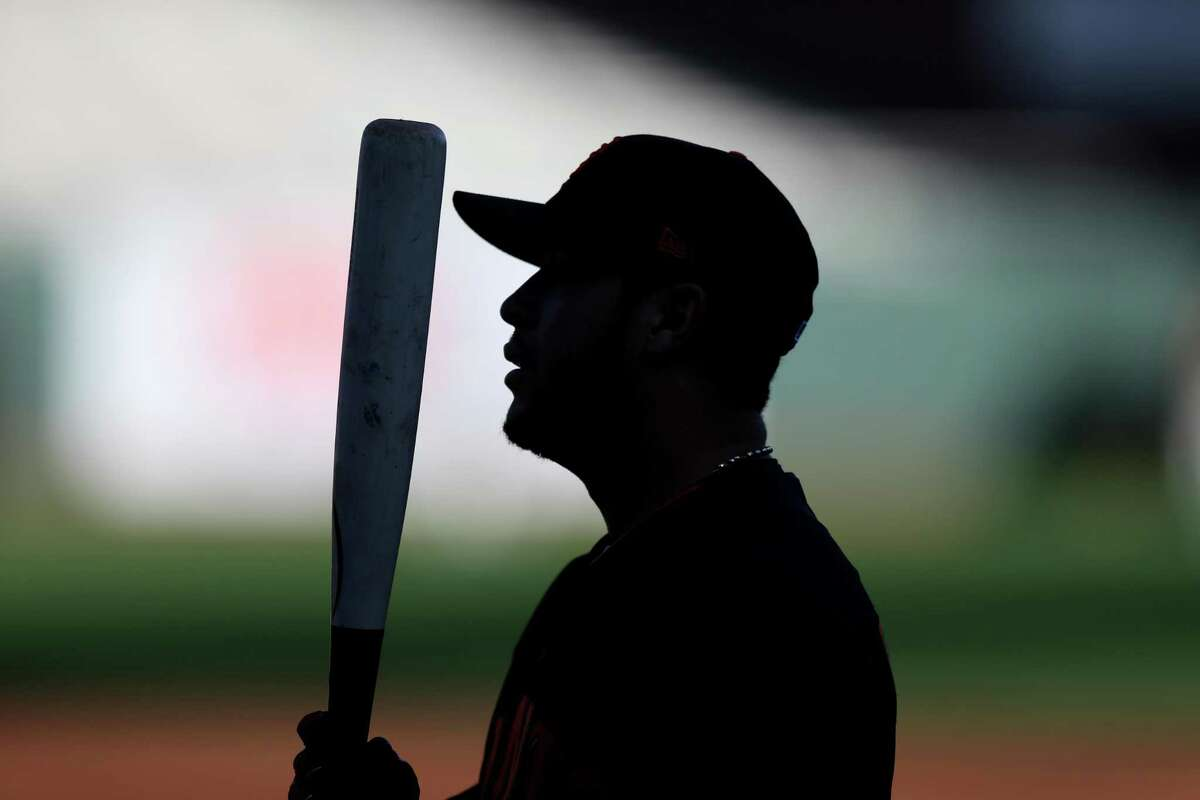 A silhouette of Gregor Blanco #7 of the San Francisco Giants during batting practice prior to Game 3 of NLDS against the Chicago Cubs at AT&T Park on Monday, October 10, 2016 in San Francisco, California.